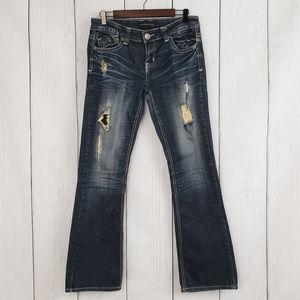 Twentyone Black Distressed Slim Boot Cut Jeans